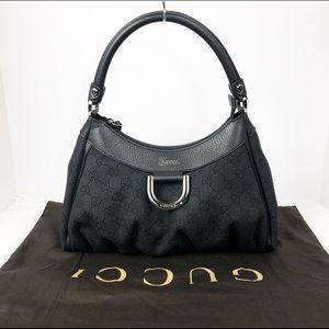 GUCCI GG Monogram Black Hobo Bag ABBEY D ring